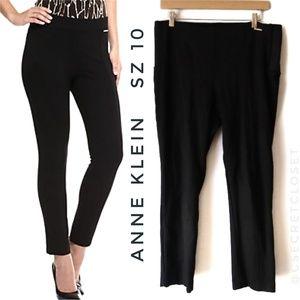 Anne Klein Black Straight Skinny Ponte Pants Sz 10